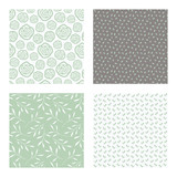 set of vector seamless floral and leaf patterns, abstract background illustrations - 182215157