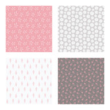 set of vector seamless floral and leaf patterns, abstract background illustrations - 182215196