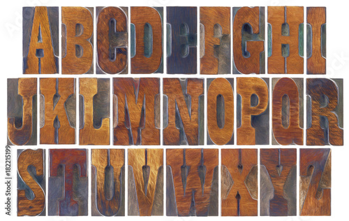 alphabet set in French Clarendon wood type