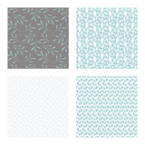 set of vector seamless floral and leaf patterns, abstract background illustrations - 182215339