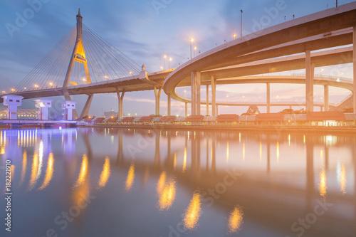 Twilight blue sky over suspension bridge river front, Bangkok Thailand Poster
