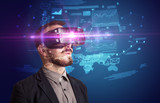 Businessman with virtual reality goggles - 182222791
