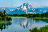 Mountains in Grand Teton National Park at dawn. Oxbow Bend on the Snake River. - 182224710