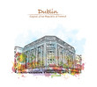 Watercolor splash with hand drawn sketch of Dublin, Capital of the Ireland in vector illustration. - 182225377