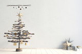 Modern minimalistic Christmas interior, Scandinavian style. 3D illustration. wall mock up - 182225564