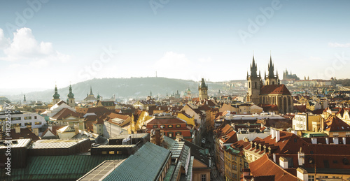 Staande foto Praag Aerial panorama of old town in Prague, Czech Republic
