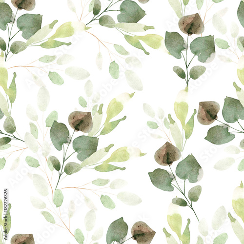 Bright watercolor pattern with leaves.  © knopazyzy