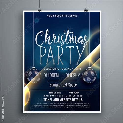 Wall mural christmas poster party flyer design template with hanging balls