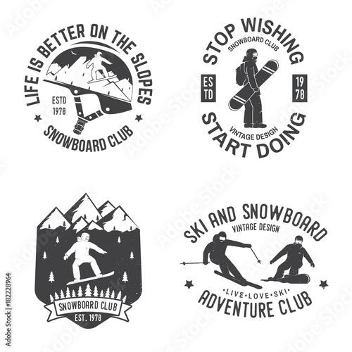 Fototapeta Set of Snowboard Club insignia.