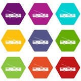 Trolleybus icon set color hexahedron
