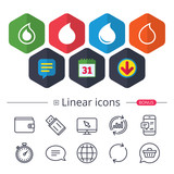 Water drop icons. Tear or Oil symbols. - 182236781