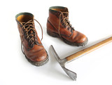 Mountain boots and Ice Axe. - 182236976