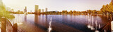 Orlando downtown Lake Eola panorama with urban buildings and reflection - 182241554