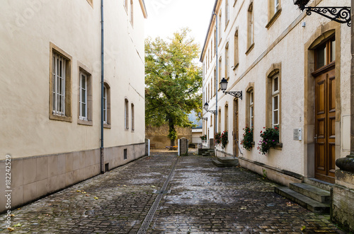 Tuinposter Smal steegje Alley by the Trinity Church in Luxembourg City, Luxembourg