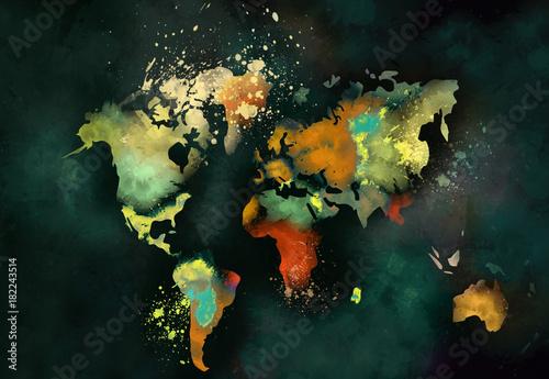 Aluminium Wereldkaarten artistic world map painting