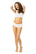 Woman Body Beauty, Model in White Underwear Show Thumb Up, Beautiful Girl Isolated over White Background