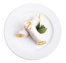 Sicilian cannoli with ricotta.