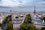 View of Paris from the Arc de Triomphe with the two towers in the background. Paris, France
