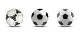 Vector soccer ball set. Tree Realistic soccer balls or football balls on white background