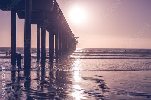 Deurstickers Zee zonsondergang Purple Sunset San Diego California