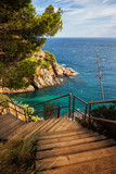 Wooden Stairs To The Sea on Costa Brava in Spain