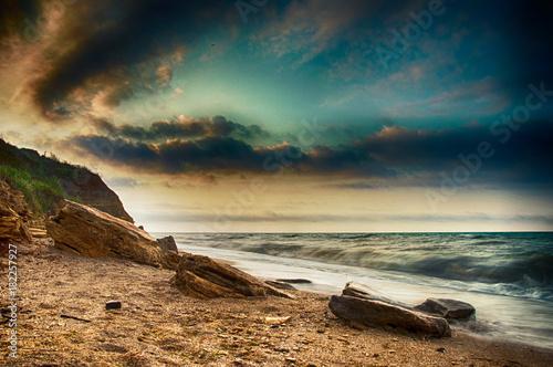 Plexiglas Zonsopgang Sea coast Sunrise in Chabanka Odesa Ukraine