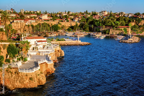 Fotobehang Schip Antalya, Turkey, the Kaleici Old Town and harbour