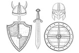 Warrior weapons - old medieval shields, helmets, sword. Hand drawn sketch - 182259716
