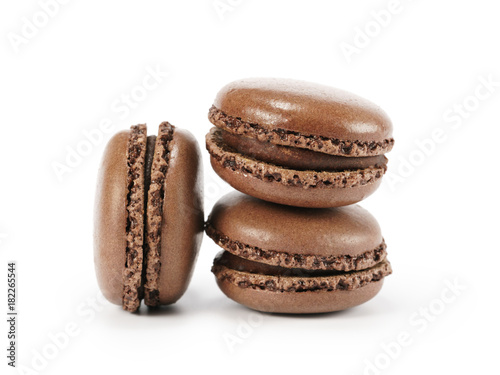 Foto op Aluminium Macarons three chocolate macarons isolated on white