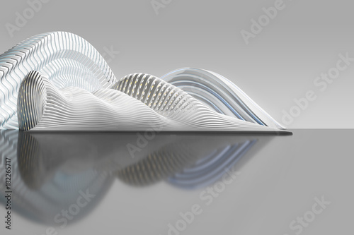 Concept of white abstract architecture. Futuristic building of wavy shape. 3d illustration.