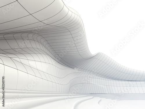 Pojęcie biała abstrakcjonistyczna architektura. Futurystyczny budynek falisty kształt.