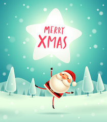 Merry Christmas! Santa Claus with star shaped balloon in Christmas snow scene. Winter landscape.