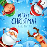Merry Christmas! Happy Christmas companions. Santa Claus, Snowman, Reindeer and Elf in Christmas snow scene. - 182267521