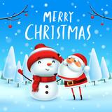 Merry Christmas! Santa Claus makes a Snowman in Christmas snow scene. Winter landscape. - 182268510