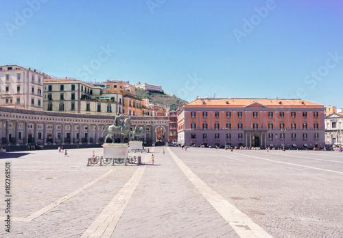 Foto op Aluminium Napels view of famous Piazza del Plebiscito, Naples Italy