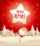 Merry Christmas! Santa Claus with star shaped balloon in Christmas snow scene. Winter landscape. - 182269107