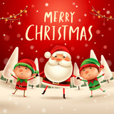 Merry Christmas! Santa Claus and Elves holding hands in Christmas snow scene. Winter landscape. - 182269137