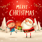 Merry Christmas! Santa Claus giving present to a kid in Christmas snow scene. Winter landscape. - 182269143