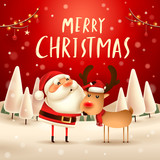 Merry Christmas! Santa Claus and Reindeer in Christmas snow scene. Winter landscape. - 182269175
