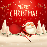 Merry Christmas! Santa Claus carrying sack with full of gifts in Christmas snow scene. Winter landscape. - 182269190