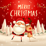 Merry Christmas! Santa Claus and Reindeer in Christmas snow scene. Winter landscape. - 182269194