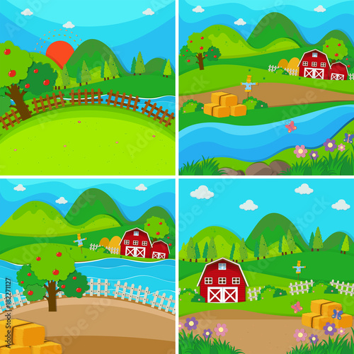 Foto Spatwand Turkoois Four farm scenes with barns and apple trees
