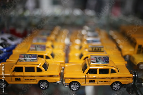 Foto op Canvas New York TAXI New York City Taxi Cab Die Cast Toy Cars