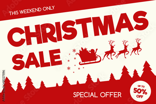 Fotobehang Vintage Poster Christmas Sale - banner in retro style with decorations. Vector.