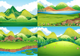 Four background scenes with green field and river - 182271560