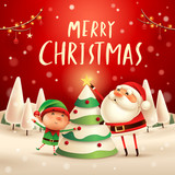Merry Christmas! Santa Claus and Elf decorate the Christmas tree in Christmas snow scene. Winter landscape. - 182272510