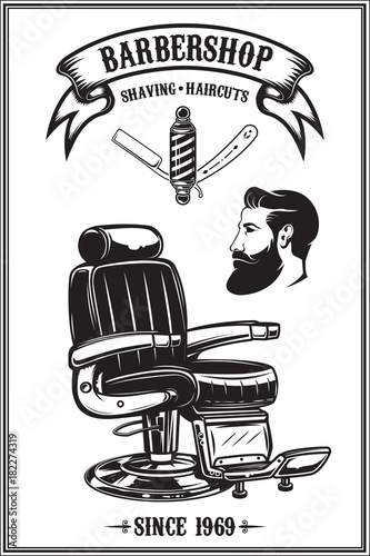 Barbershop poster with barber chair, haircut tools. Design elements for poster, emblem. Vector illustration