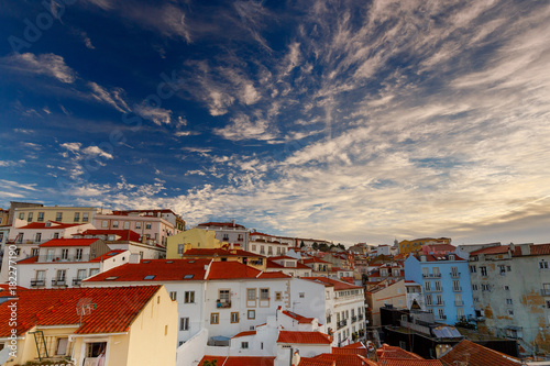 Lisbon. Aerial view of the city on the Sunset. Poster