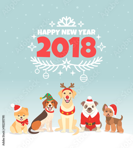 happy new year 2018 greeting card vector illustration with wishes of a happy new year
