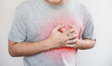 a man touching his heart, with red highlight of heart attack, heart failure, others heart disease and broken heart - 182282348